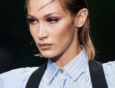 Bella-Hadid wet look hair versace