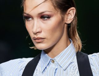 Bella-Hadid wet look hair versace